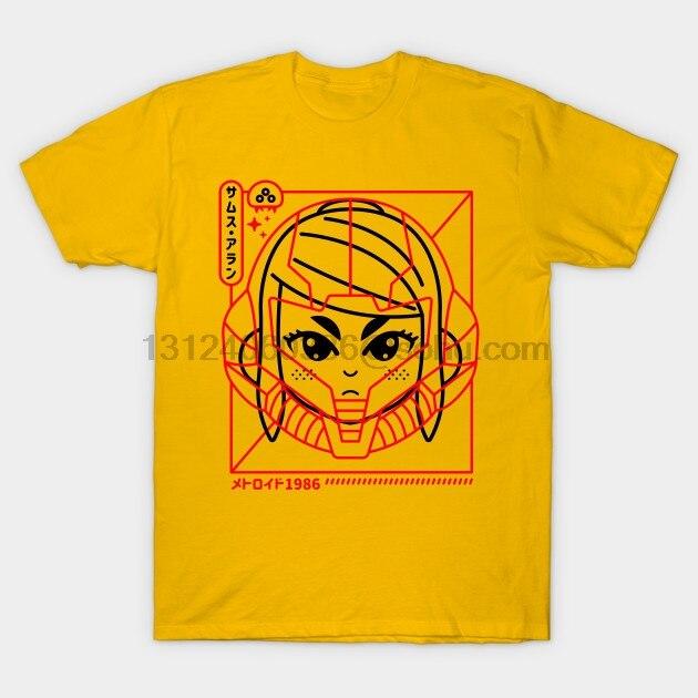 Camiseta de manga corta para hombre Cyber Helmet Metoroido Retro Camiseta cuello redondo para mujer camiseta