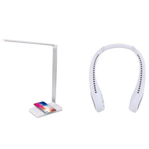 Bluetooth Neck Fan,Portable Neck Fan White & LED Desk Lamp With Wireless Charger, USB Charging Port