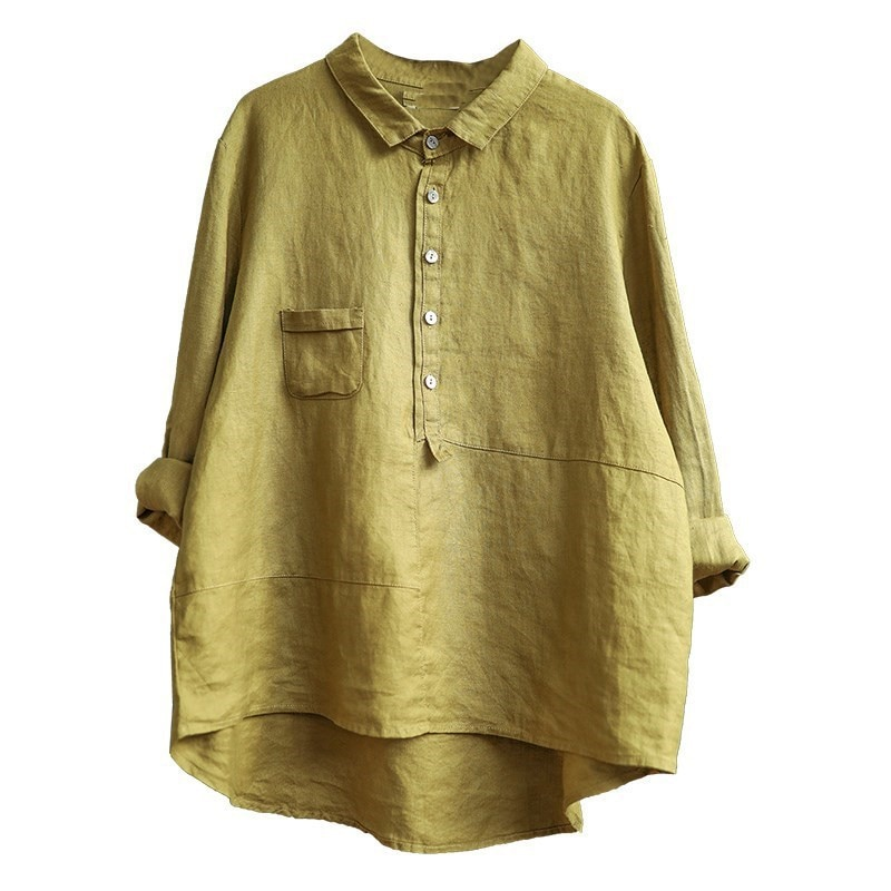 Cotton and Linen Shirt New Loose Casual Solid Color Women Long Sleeve Womens Tops Blouses