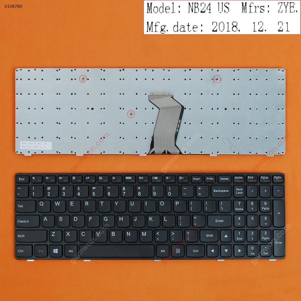 US QWERTY New Replacement Keyboard for Lenovo G500 G505 G510 G700 G710 Laptop Black with Frame