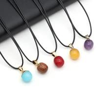 adzuki bean shape pendant necklace 13x18mm natural stone amethyst lapis lazuli rose quartz agate charm for women jewelry gifts