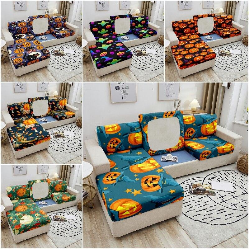 Эластичный чехол для дивана в стиле Хэллоуин L Shap, чехол для подушки с изображением тыквы, эластичный чехол для дивана, чехол для дивана, сили... чехол
