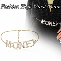 4types vintage three layer gold silver girl clothing accessories tassel money letter pendant crystal high waist chain