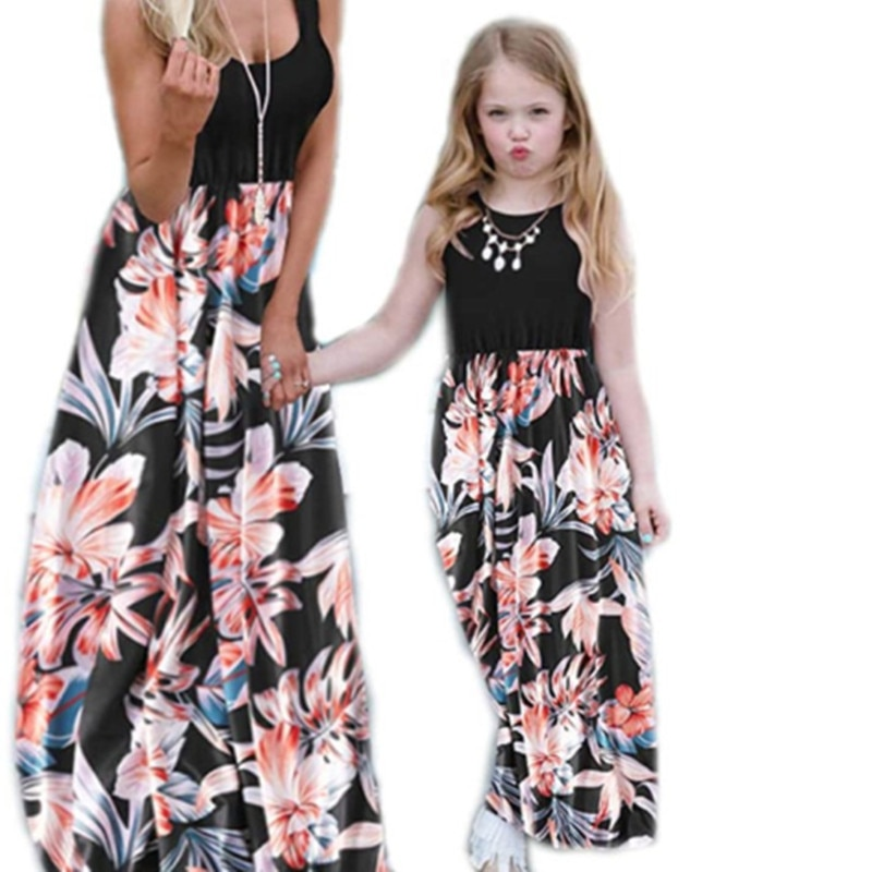 Vestido sin mangas de costura impresa para madre e hija de verano 2020