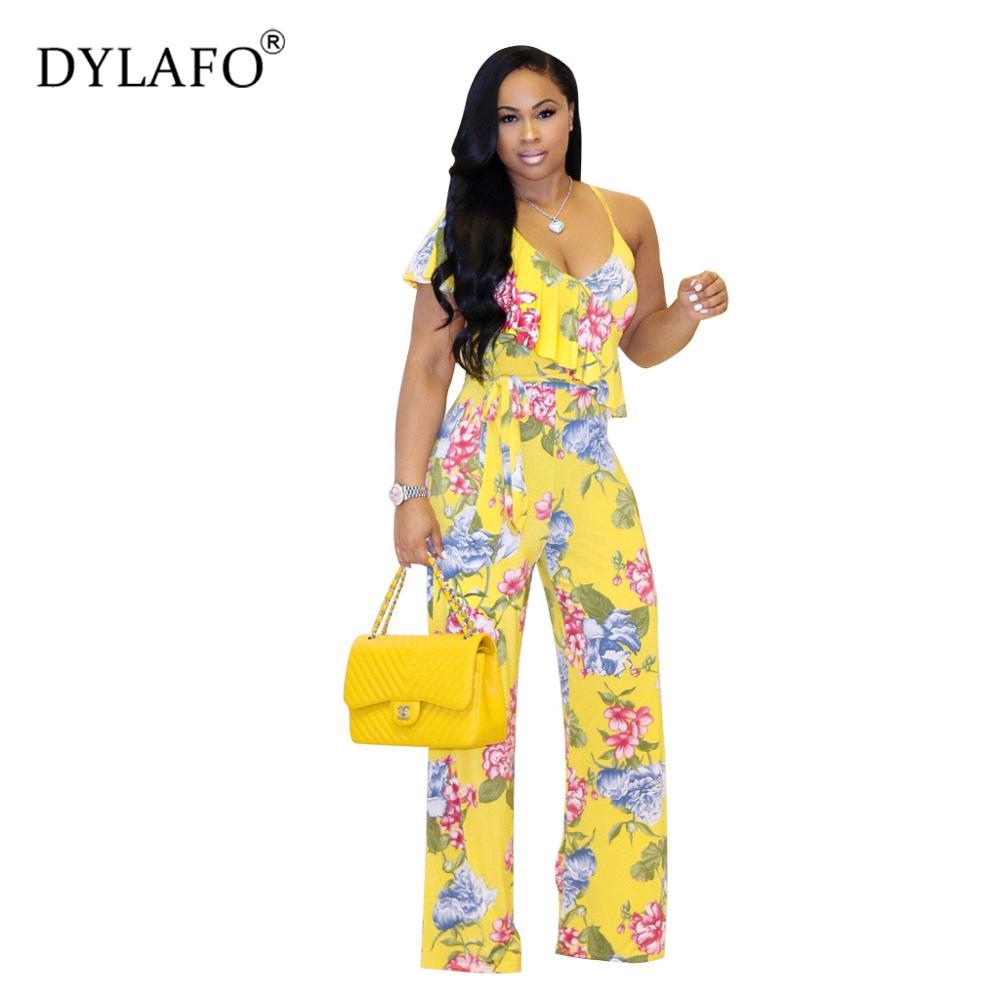 Hot Sale 2019 Flower Halter Women Jumpsuit Sexy Bodysuit Boho Print V Neek Backless Summmer Style Streeetwear Casual Rompers