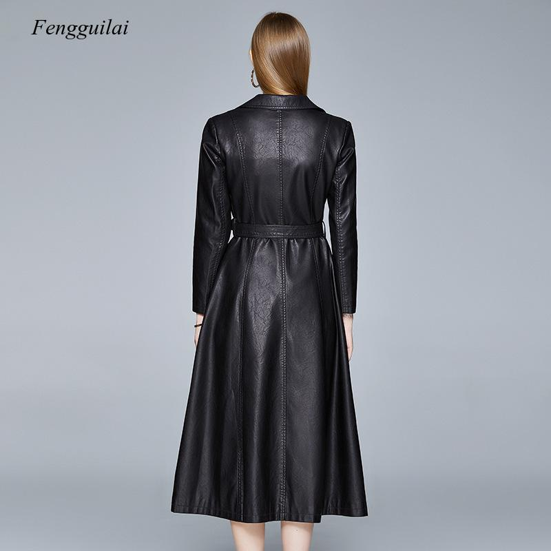 High Quality Red Black Maxi Leather Trench Coat for Women Long Sleeve Extra Long Skirted Overcoat Plus Size Fashion enlarge