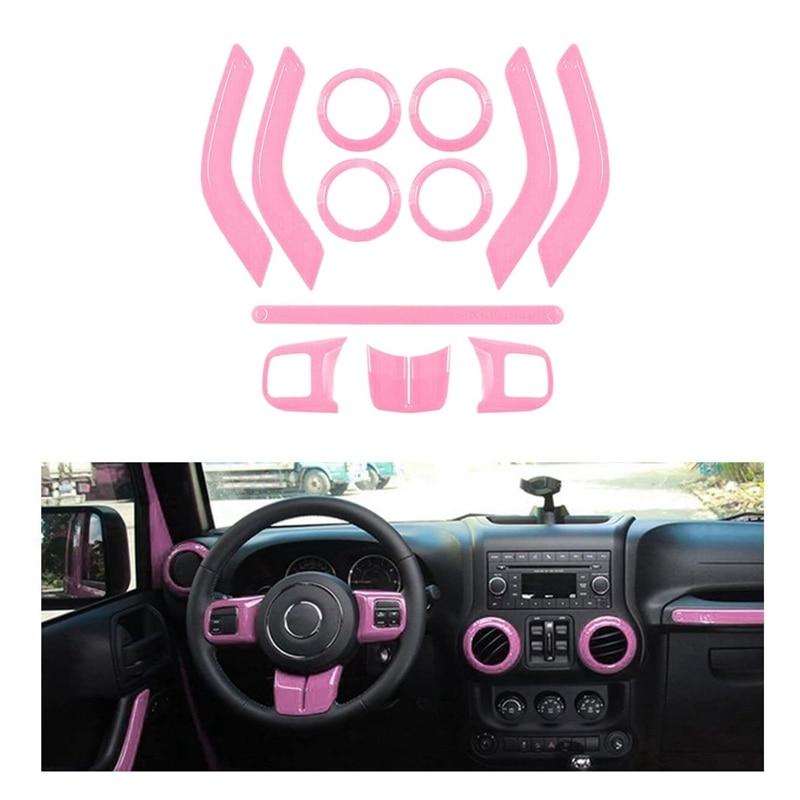 (PINK 12PCS) Car Decoration Steering Wheel & Center Console Air Outlet Trim for Jeep Wrangler JK JKU 2011-18