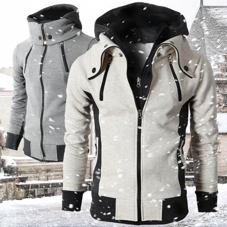 Мужская Флисовая куртка на молнии, повседневная куртка-бомбер с капюшоном и воротником-шарфом, приталенная куртка с капюшоном, Осень-зима ...
