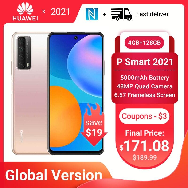 Huawei P Smart 2021 смартфон глобальная версия 4 Гб 128 NFC 48MP Quad Camera 5000 мАч батарея 6,67 безрамочный экран мобильных телефонов