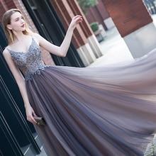 Beading Prom Dresses 2020 V neck High Split TulleSleeveless Evening Gown A-line  Backless Vestido De