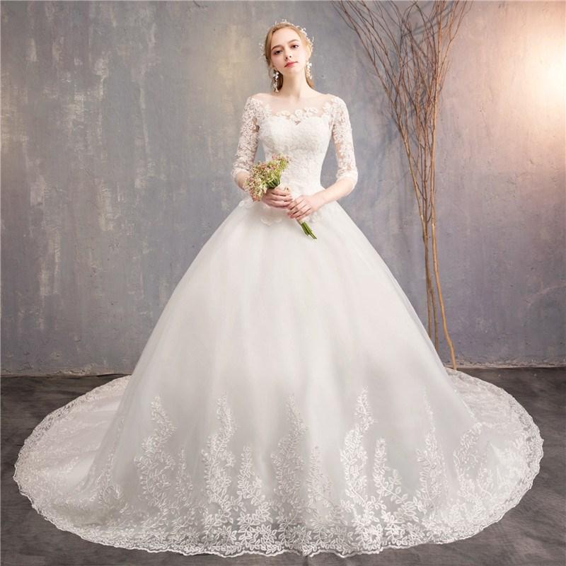 Vestido De boda De lujo con bordado De encaje, traje De fiesta De media manga, talla Grande, 2021