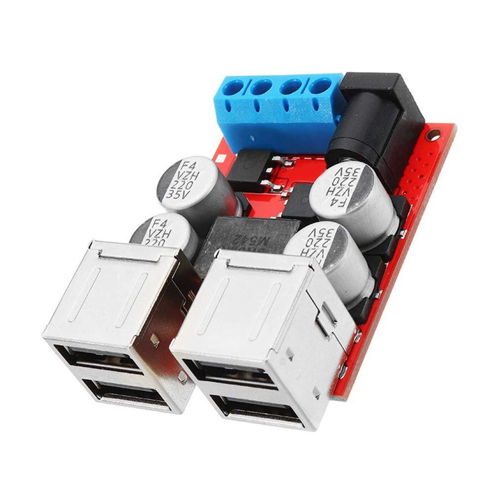 DC8V-35V caliente a 5V 8A Módulo de reducción de energía 4 puertos USB teléfono cargador de coche soporte de carga rápida