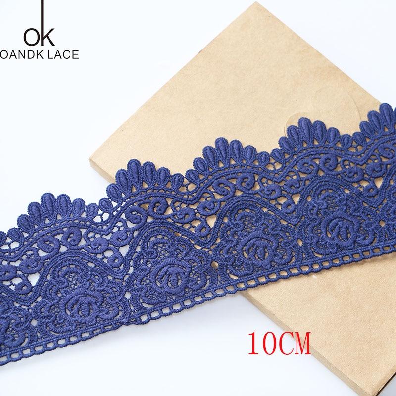 1 yard 10cm garment decorative edge embroidery sewing DIY process beige blue edge pure cotton edge