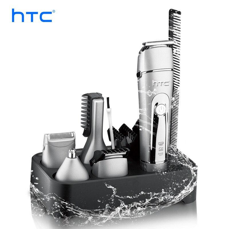 HTC-ماكينة قص الشعر الكهربائية متعددة الوظائف 5 في 1 ، للعناية الشخصية ، وقص الشعر واللحية والأنف وشفرة الحلاقة