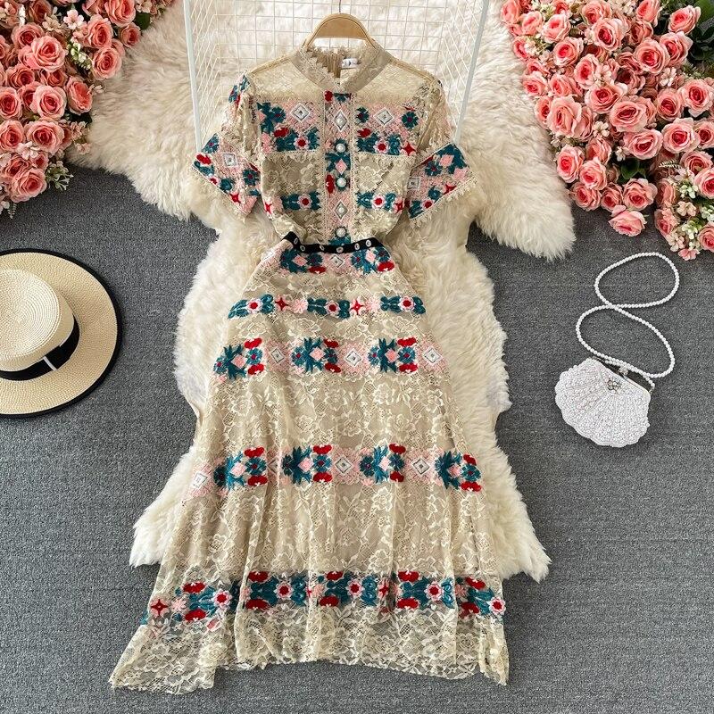 Banulin Fashion Runway Summer Midi Dress Women Short sleeve Gorgeous Lace Flower Embroidery A Line Elegant Party Dress N69958 plain lace embroidery a line beach dress