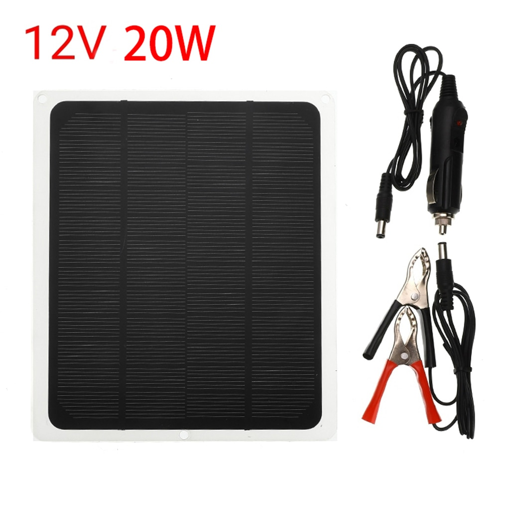 12 Volts 20 Watts Portable Power Solar Panel Battery Charger with Alligator Clip Adapter for Car Boat RV Batteries