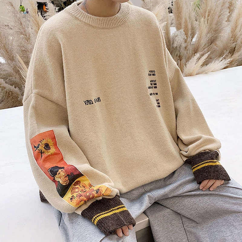 2020 Autumn Cotton Hip Hop Men Sweater Pullover pull homme Van Gogh Painting Embroidery Knitted Sweater Vintage Mens Sweaters