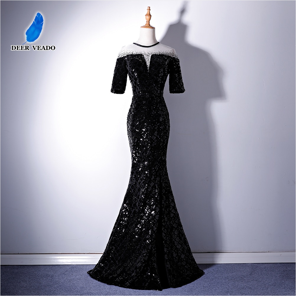 DEERVEADO medio mangas vestido de noche Vestido largo de lentejuelas partido lateral vestido Formal Mujer Vestidos de ocasión para fiestas vestido de noche XYG819C