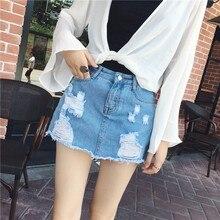Lente Zomer Denim Shorts Vrouwelijke Toevallige 2019 Hoge Taille Jeans Shorts Rok Katoen Gaten Mini Rok-shorts Koreaanse Pantalon femme
