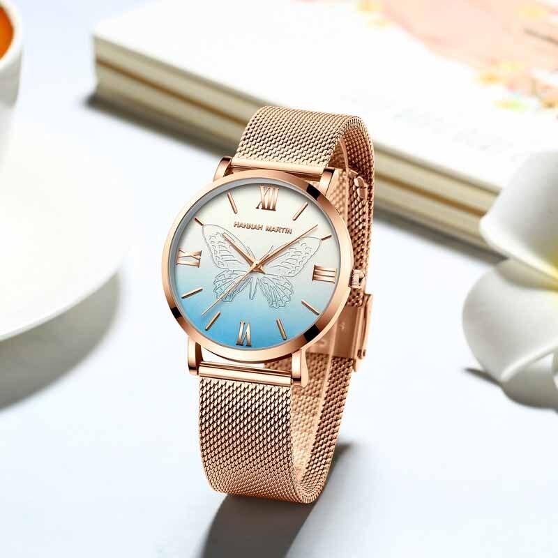 Hannah Martin Fashion Business Quartz Wristwatch Women Watches Luxury Brand Steel Mesh Ladies Watch Gifts for Women Reloj Mujer enlarge
