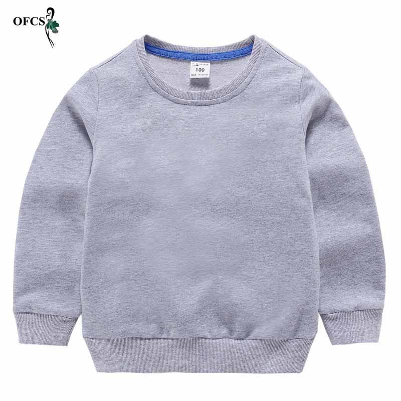Children's Solid Sweatshirt For Boy 100% Cotton Kids Hoodies Baby Girls Clothes Sweat Shirt Poleron Teenagers Retail Sweatshirt
