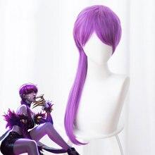 LOL jeu Cosplay perruque KDA POP/STAR Evelynn Cosplay perruques femmes longue ligne droite violet perruque LOL KDA Evelynn KPOP peau femmes cheveux