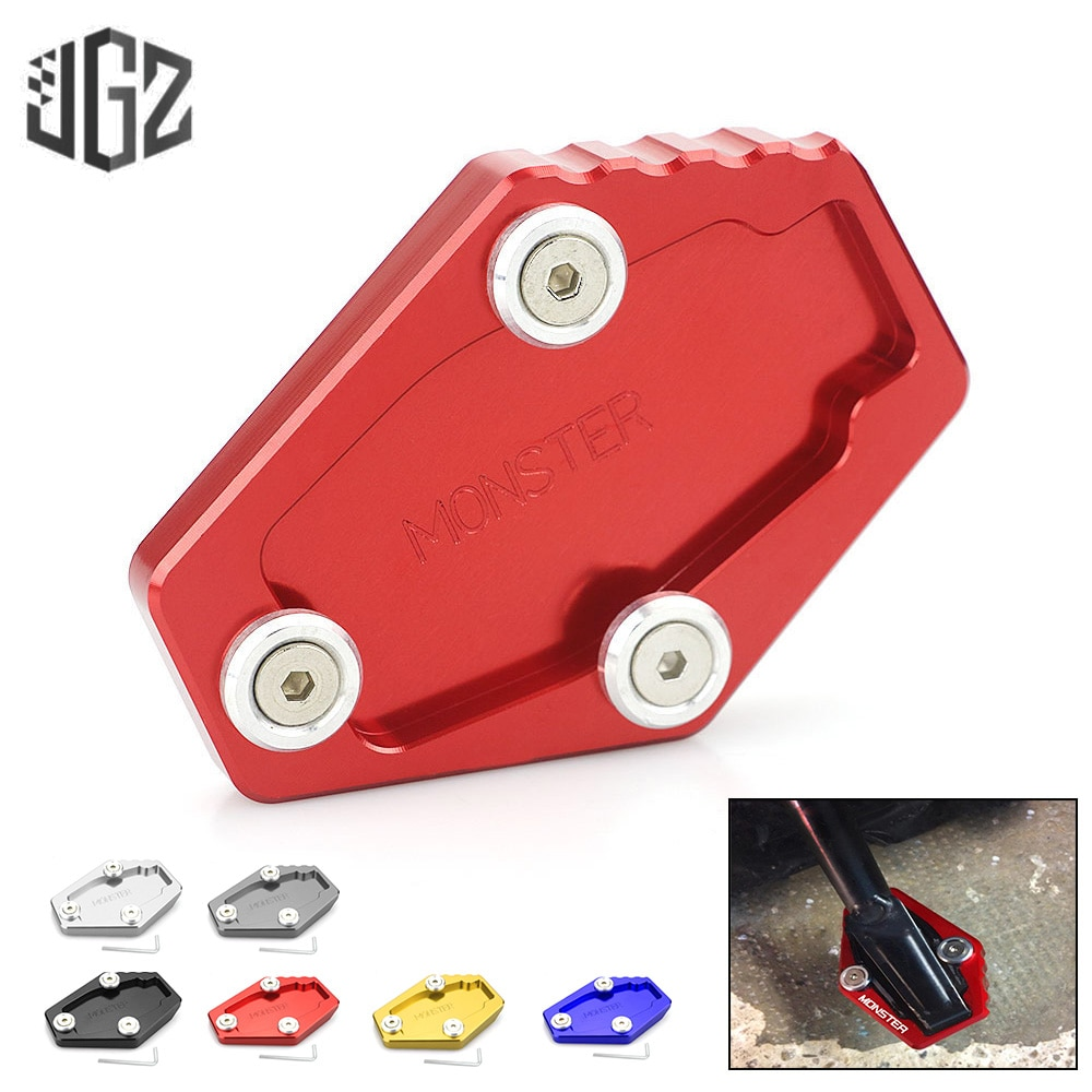 Motorcycle CNC Aluminum Enlarge Plate Kickstand Extension Pad Stand Enlarger for DUCATI Monster 821 696 796 1200 S Accessories