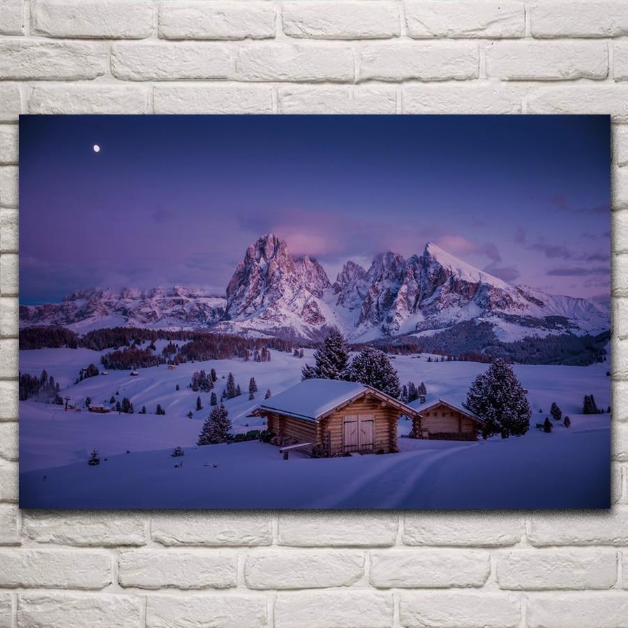 Dolomitas seiser alm itália inverno neve pôr do sol cenário sala de estar decoração da parede casa arte decoração quadro de madeira tecido cartazes km496