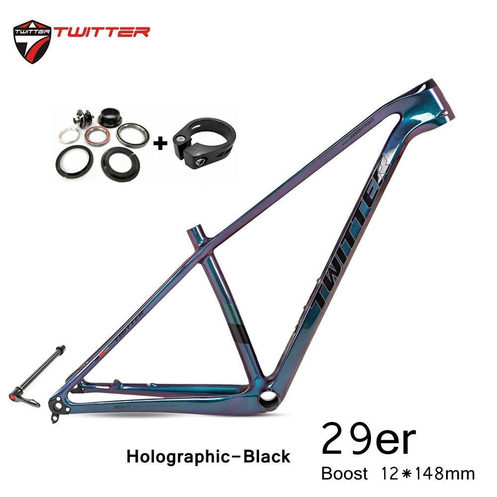 Twitter Warriorpro 29er Mtb Cuadro De Carbono a través del eje impulso 12x148mm disco de freno x 29x2,2 llantas XC montaña de carbono T900 bicicleta de marcos