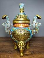 11tibet buddhism temple old bronze cloisonne enamel three legged wishful incense burner binaural stove fushou shuangquan