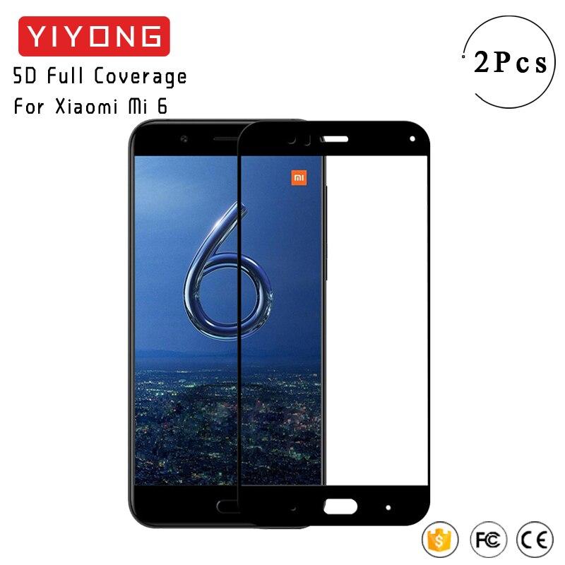 Yiyong 5d cola vidro cobertura completa para xiaomi mi 6 mi6x vidro temperado xiomi mi 6 pro protetor de tela para xiaomi mi6 mi 6x vidro