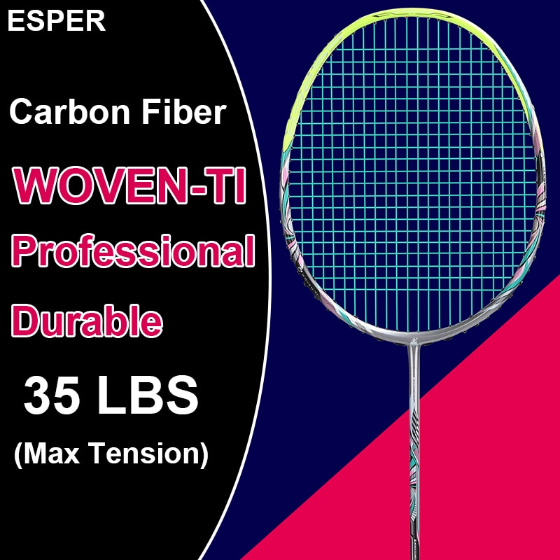 ESPER V6 Woven Ti Badminton Racket Professional 4u LightWeight Carbon Fiber High Quality High Tension with String For Adult