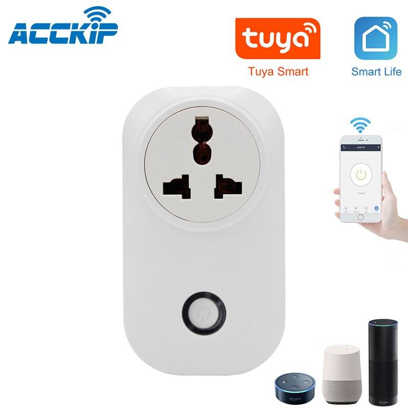 Monitor de potencia ACCKIP funciona con Alexa Google Home India y enchufe de África para automatización del hogar 16A Tuya APP Control Wifi enchufe inteligente