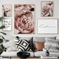 Toile dart mural avec fleur de pivoine rose  citation de maison douce et calme  peinture  affiches et imprimes nordiques  images murales pour decor de salon