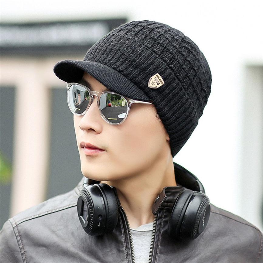 New Fashion Men Warm Baggy Weave Crochet Winter Wool Knit Ski Beanie Caps Hat Men Wool Duck Tongue Knitted Hat