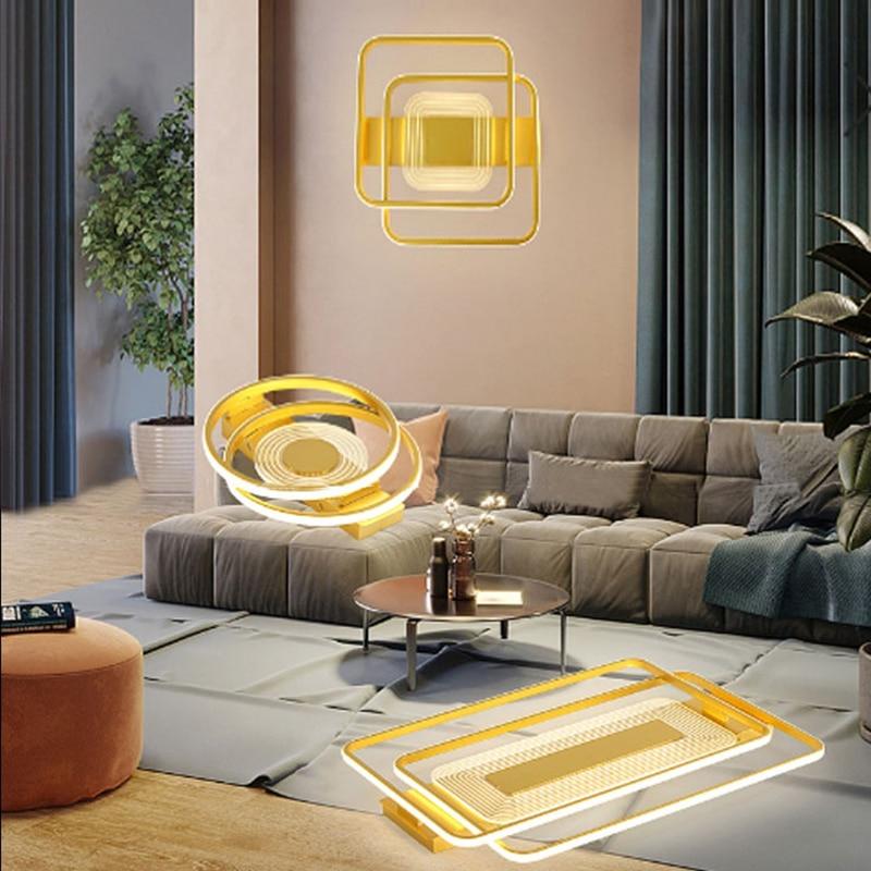 Простой золото светодиодный потолочные люстры с пультом дистанционного управления Управление для ресторана Спальня вилла домашние AC90-260V о...