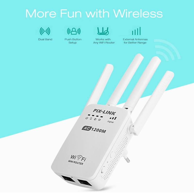 Super WiFi Extender Signal Booster 1200Mbps Wireless Internet Amplifier 2.4 & 5G Dual Band WiFi Repeater with Ethernet/LAN Port