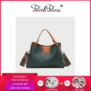 FELIX & FELICIA Fashion Shoulder Bags For Women Brand Ladies Handbag Casual PU Leather Crossbody Retro Design Tote Messenger Bag