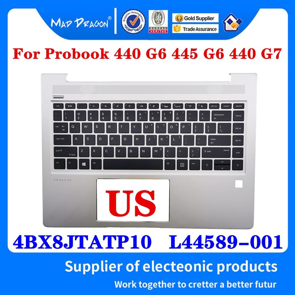 جديد 4BX8JTATP10 L44589-001 ل HP Probook 440 445 G6 440 G7 Palmrest الغطاء العلوي مع الولايات المتحدة ث/ن الخلفية لوحة المفاتيح الفضة