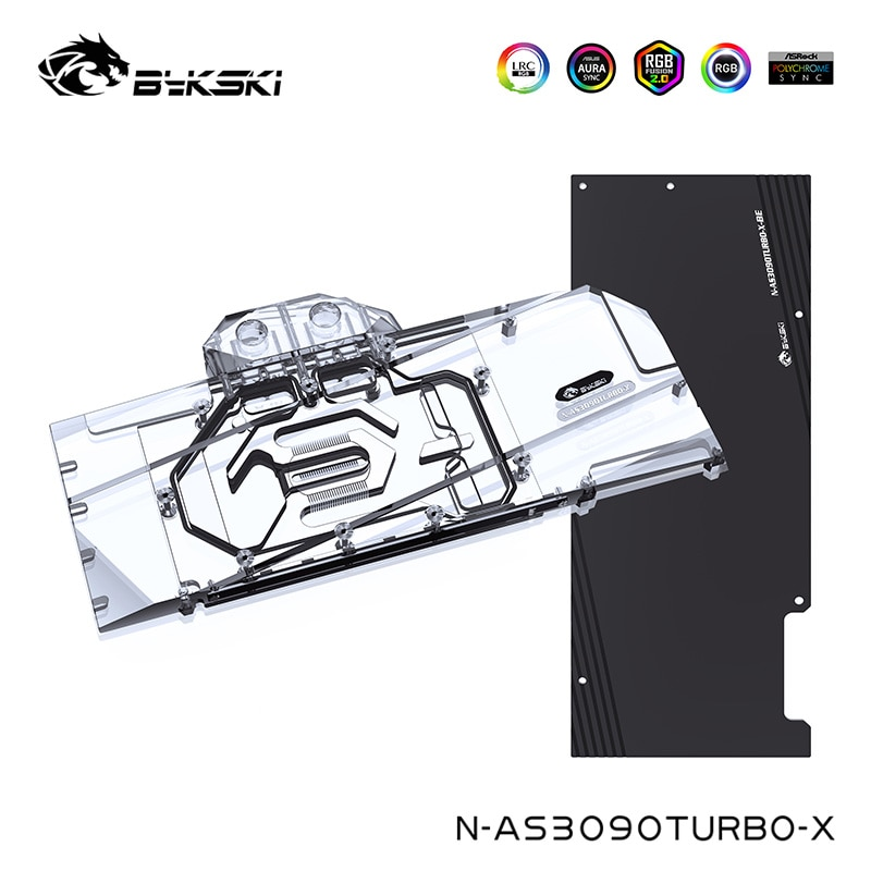 Promo Bykski Water Cooler For ASUS Geforce RTX 3090 TURBO VGA Video Card Block ,G1/4″  ,Full Cover,N-AS3090TURBO-X