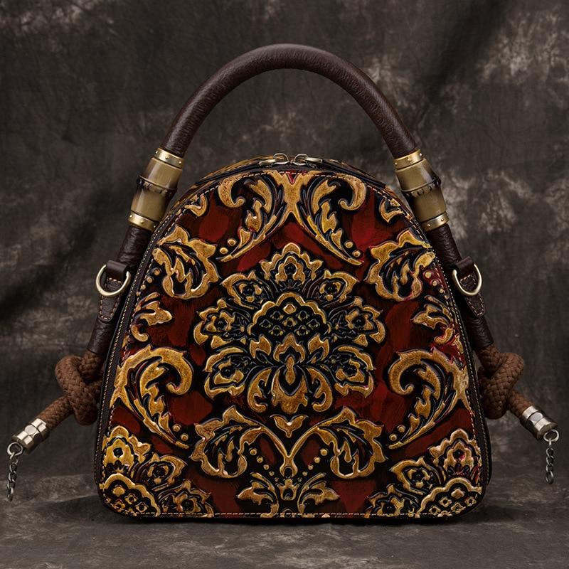 Johطبيعة-حقيبة يد جلدية ريترو فاخرة مرسومة يدويًا ، حقيبة كتف جلدية أصلية مزينة بالزهور ، سعة كبيرة ، جلد البقر ، مجموعة جديدة 2021
