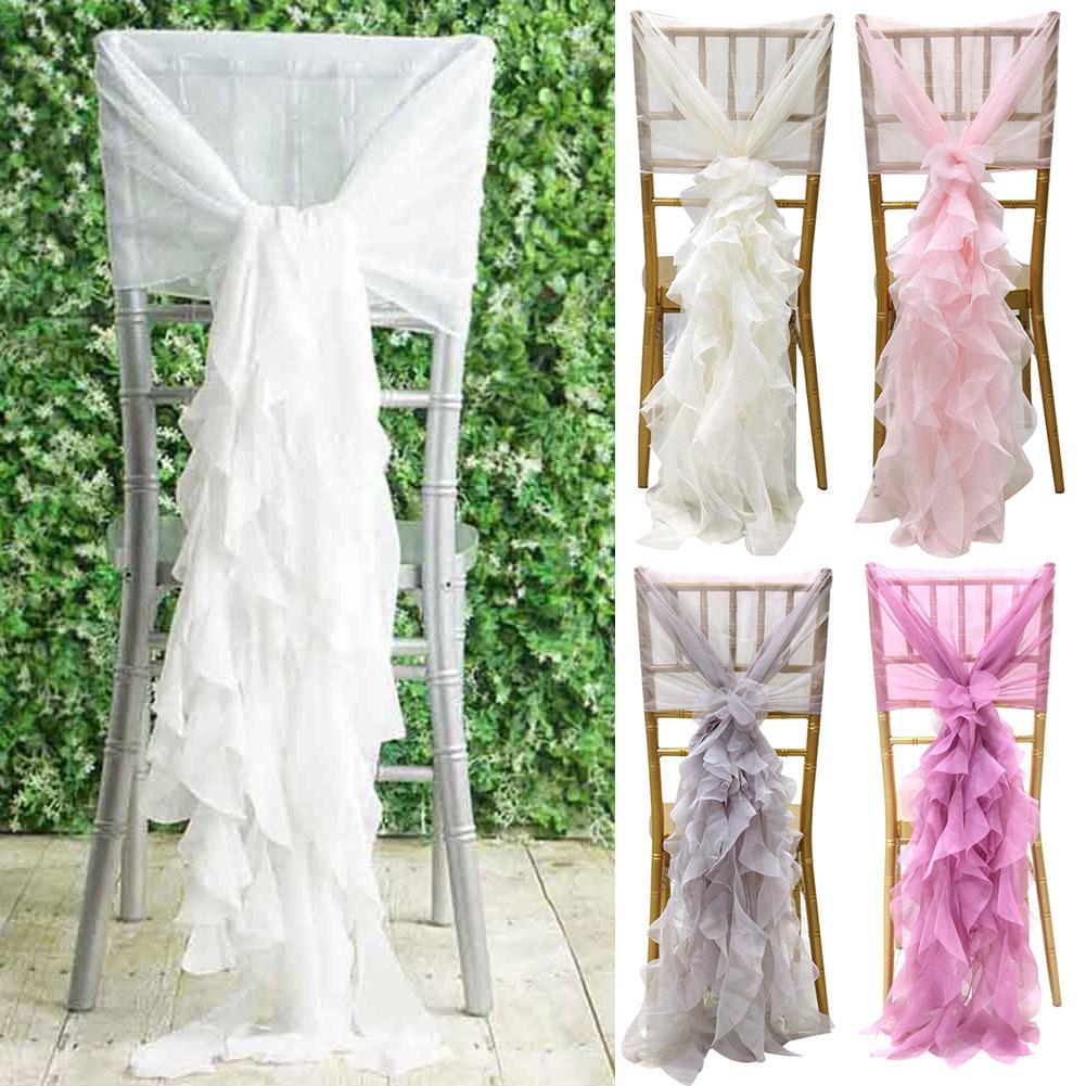 5 colores silla a la moda fajas 80cm silla banda lazos rizados gasa volantes fajas para boda fiesta decoración de banquete suministros