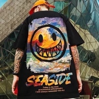 summer mens t shirt hip hop streetwear graffiti smiley print cotton loose round neck trend wild casual oversized short sleeves