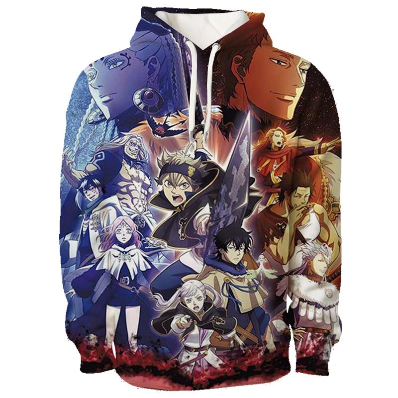 Men Women Black Clover Hoodie Casual Fashion teens Sportswear Sweatshirt Hipsters Unisex Casual Anime Print Hoodies