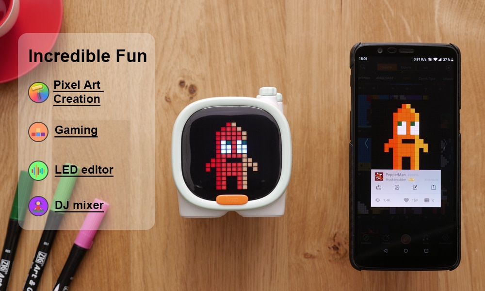 Portable Bluetooth Speaker Wireless Mini with Alarm Clock,Pixel Art,TF Card,Cute Gadget with LED Screen for Desktop enlarge