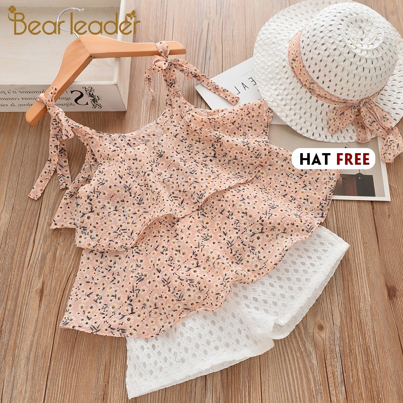 Bear Leader Girls Clothing Sets 2021 Summer Kids Clothes Floral Chiffon Halter+Embroidered Shorts Straw Children Clothing