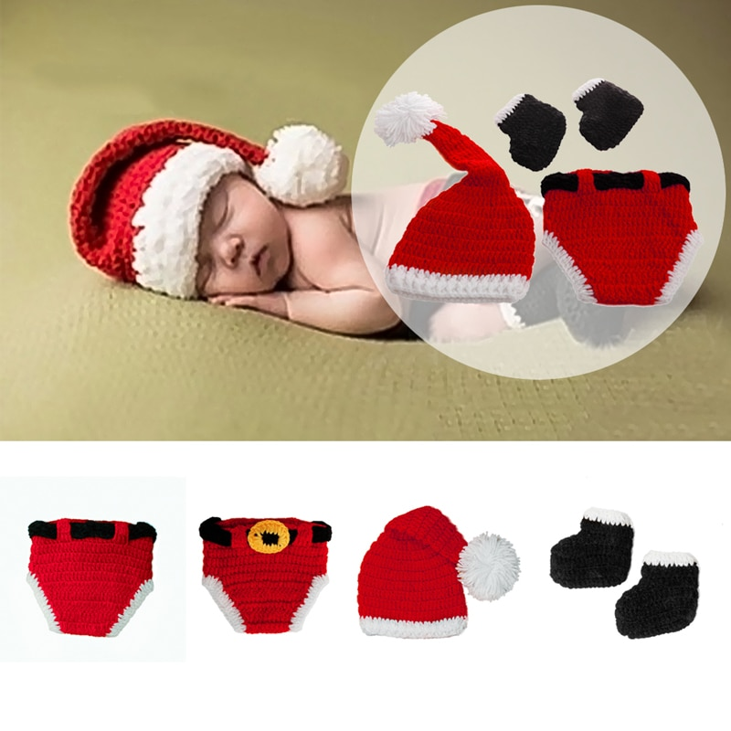 baby costume set 0 2y santa elf climb clothes sets boys gilrs christmas rompers overalls roupas santa claus jumpsuits and hat 3pcs/Set Christmas Baby Knitting Long Tail Hat Newborn Photography Props Santa Claus Crochet Pompom Baby Shorts Shoes Photo