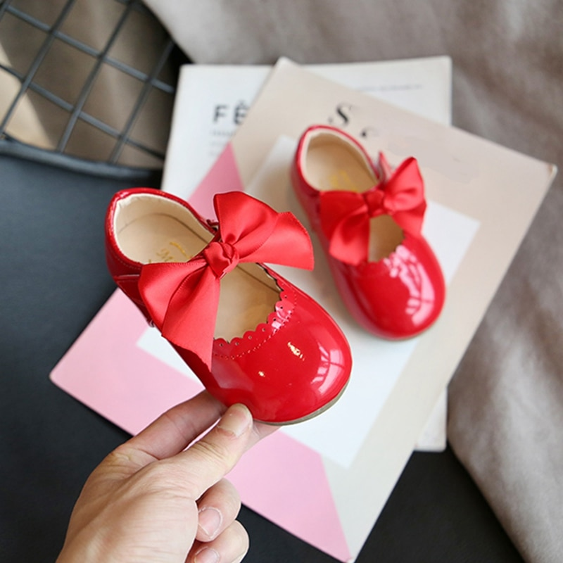 Children's Princess Shoes For Girls Kids Round Toe Butterfly knot Flats British Style Soft Bottom Leather Shoes Wedding Party