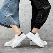 Fashion Couple Sneakers Little White Shoes Comfort Soft Leather Platform Shoe Outdoor Walking Sport
