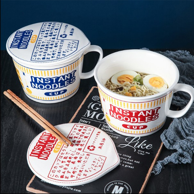 Creative Japanese Instant Noodle Bowl Ceramic Bowls With Cover Soup Bowl Cereal Bowl Student Dormitory Bowl Noodle Cup with Lid